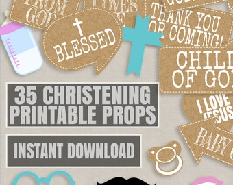 35 Rustic Christening Props, photobooth props for christening, church photo booth props, rustic baptism photo props, diy baptism ideas