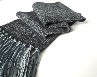 Handwoven Grey Soft Twill Chenille Scarf