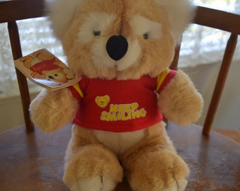 Vintage 1984 Gibson Greeting Cards Kirby Koala Stuffed Plush with Original Tags Keep Smiling
