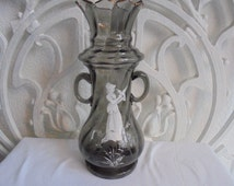 antique American mary gregory vase/flower vase/1930/shabby chic/grey lila color