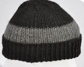 Black and Gray Hand Knit Alpaca Winter Hat. Soft and warm beanie, toque, watch cap, or ski hat.