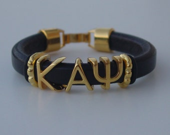 KAPPA ALPHA PSI Sliding Greek Letters Leather Bracelet Custom Made Mens Licorice Your Initials Clip Clasp Choose Color