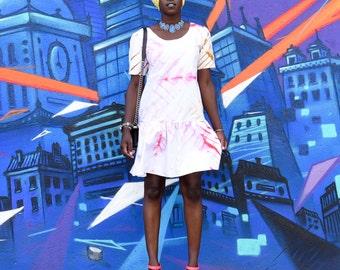 Diarra short sleeve dress- Chevron tie dye