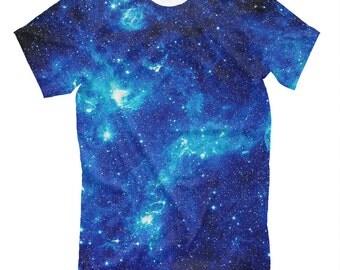 EDM tee - cold space. Rave t-shirt far universe deep blue color wear