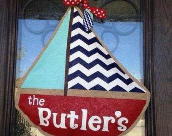 Hand-Painted Burlap Sailboat Door Hanger