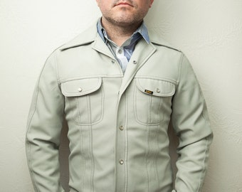 Men's Lee Beige Vintage Small Western Shirt Jacket with Pearl Snap Buttons Pockets, Mens Retro Western Long Sleeve Shirt,