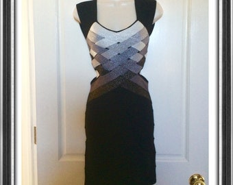 Cutout woven bandage dress black silver S