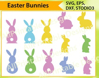 Easter Bunny SVG, Easter SVG, Bunnies SVG, Rabbit Svg, Easter Bunny Clipart Svg, Dxf, Eps, Png, Commercial and Personal Use