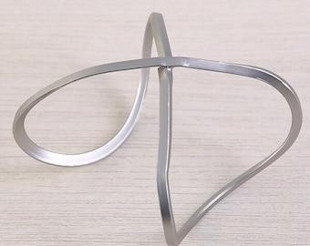 Metal Cuff, Metal Cuff Bracelet, Metal Jewelry, Expandable Jewelry, Expandable Bracelet - Silver Cuff