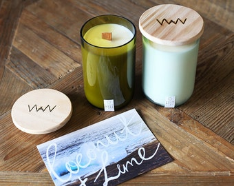 Recycled wine bottle candle - Coconut + Lime soy wax with wood wick