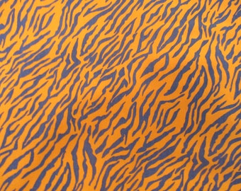 Navy/Orange Tiger Print Cotton