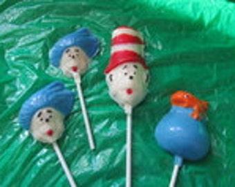 12 Dr. Seuss Cat in the hat chocolates lollipops