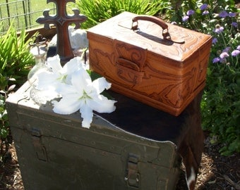 Vintage Tooled Leather Train Case for Cosmetics or Jewlery