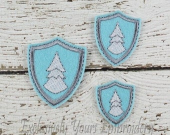 Tree Shield Feltie Set of 4 - Hair Bow Supplies - Badge Reel Cover - Craft Supply - Scrapbooking - Card Making - Planner Clip
