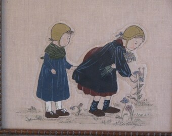 "Framed Hand Painted and Stitched ""Girls Picking Flowers"""