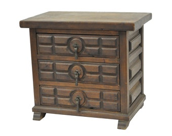 Vintage Miniature Mission Arts & Crafts Gothic Style Chest Drawers Jewelry Box
