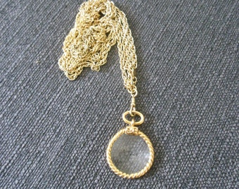 Original Chanel glass loupe pendant necklace  gold plated