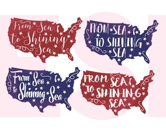 From sea to shining sea svg, 4th of July svg, Patriotic svg, SVG, DXF, EPS,  for use with Silhouette Studio & Cricut Design Space