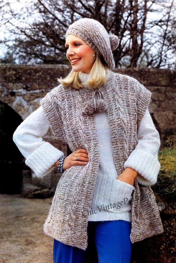 Knitting Pattern Ladies Gilet : Knitted Jacket and Beret ... Ladies Gilet ... PDf Knitting Pattern ... Stylis...