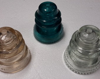 Glass Insulator, pre-drilled hole , lamp part, industrial steampunk lighting