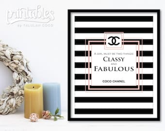Chanel Fashion Art, Printable Chanel Wall Decor Pink, Coco Chanel Quote - Classy and Fabulous, Digital Chanel Logo, DIY Chanel Wardrobe Art