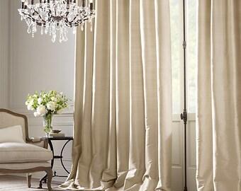 ALABASTER Taffeta silk curtain, window dressing, draping, home decor, interior decor, window treatment, cream, eggshell, alabaster