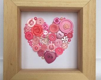 Small framed button heart - pink - wedding gift