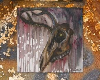 Animal Head Bones II - Acrylics on Canvas - Original Painting - Original Art