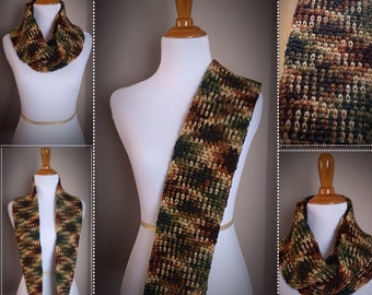 Ladies Argyle Infinity Scarf * Autumn Multicolor * Yarn Pooling