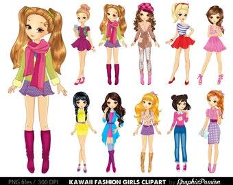 50% OFF Cartoon girl clipart Kawaii girls clipart Fashion girls clipart Fashion lady clipart Girls party clipart Women Clipart Girls clipart