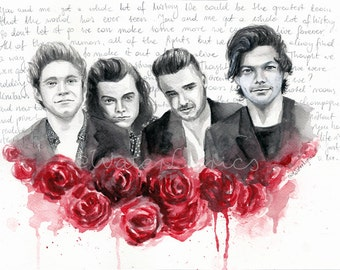 """One Direction Watercolor Portrait with """"History"""" Lyrics"""