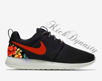 Sale Hawaiian Tropical Floral Nike Roshe Run Custom Sneakers