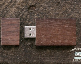 "Wood/Wooden Mahogany ""Chubby"" USB Flash Drive 4GB Capacity with Magnet Top"