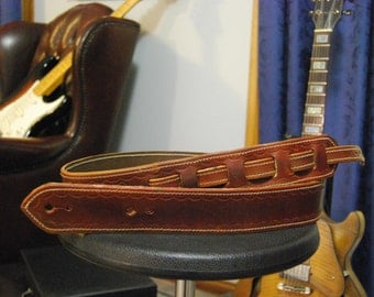 Heavy duty hand-made Leather Guitar strap