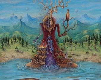 The Last Deity: Print of original acrylic painting