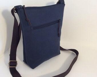 Perfect size waxed cotton cross body handbag, shoulder bag, travel bag, small tote