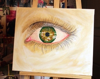 Green eye painting
