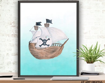 Pirate Ship Print, Instant Download, Printable Art, Pirate Ship Art, Pirate  Wall