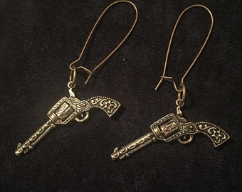 Burnished Gold Revolver Earrings with Spinning Cylinders Steampunk Antique Western Gun Pistol