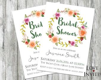 boho bridal shower invitation | flower crown | floral bridal shower | rustic bridal shower invites | hens party | kitchen tea  | fall