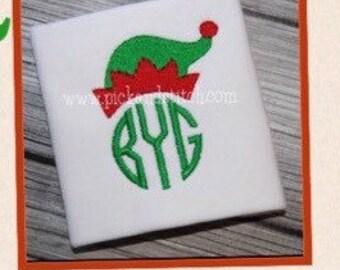 Monogram Shirt, Christmas Monogrammed Shirt, Elf Hat Monogram, personalized long sleeve shirt