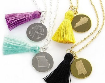 Monogrammed State Charm Necklace, Cutout State Charm Tassel Necklace, State Tassel Monogrammed Necklace