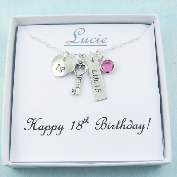 Personalized 18th Birthday Necklace Initial Custom: 18th Birthday Necklace With Name Bar Personalized Birthday