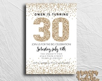 30th Birthday Invitation, Milestone Birthday Invitation, Gold Glitter Birthday Invitation, Printable Download, Digital Image
