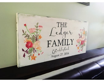 Monogram Family Established Sign - Watercolor Flower