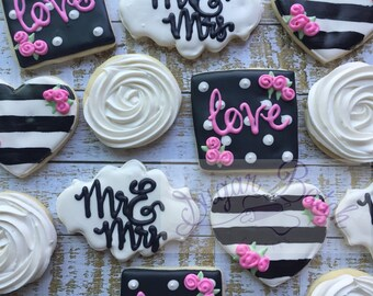 1 Dozen Mr and Mrs Wedding Decorated Cookies Set