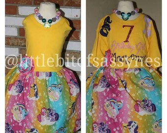 Custom Girls Birthday, photo shoot, My Little pony inspired twirl dress