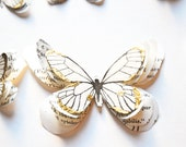 3 gold and white butterflies, gift wrapping applique, gold home decor, gold gift wrapping, Christmas table decorations, holiday decor