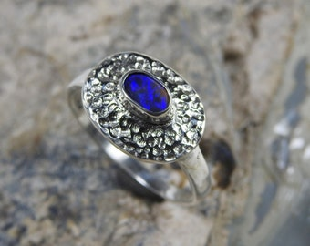 Solid Black Opal from Lightning Ridge with Blue Color Sterling Silver Ring.