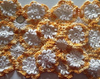 Orange and White Handmade Vintage Doilies
